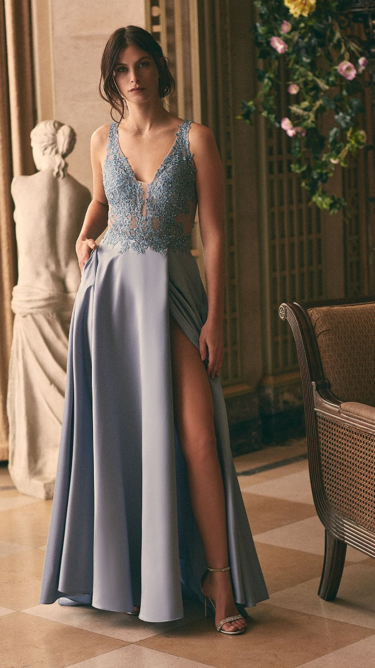 Xscape - Embroidered Detail Satin Gown
