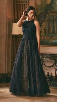 BA Nites - Rhinestone Mesh Ball Gown