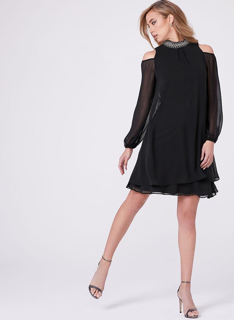 BA Nites - Beaded Cleo Neck Cold Shoulder Dress
