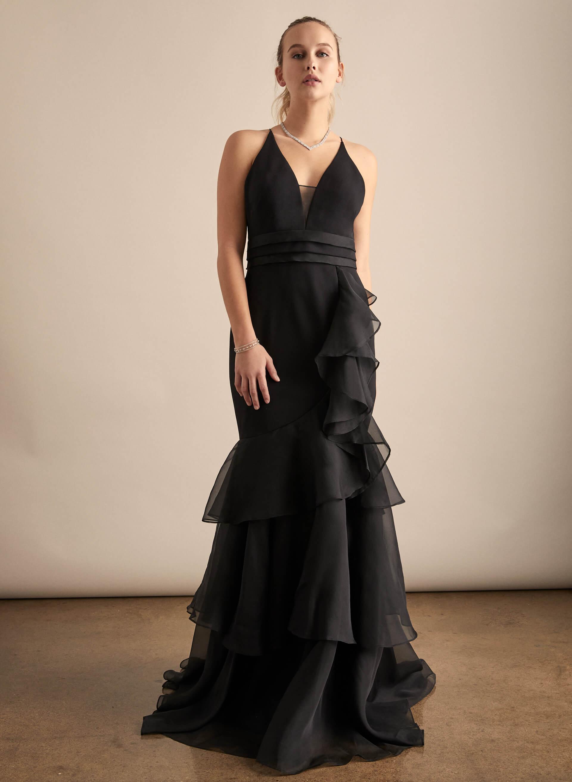Prom - Melanie Lyne - 2020 - Aidan Mattox - Robe sirène volantée en organza