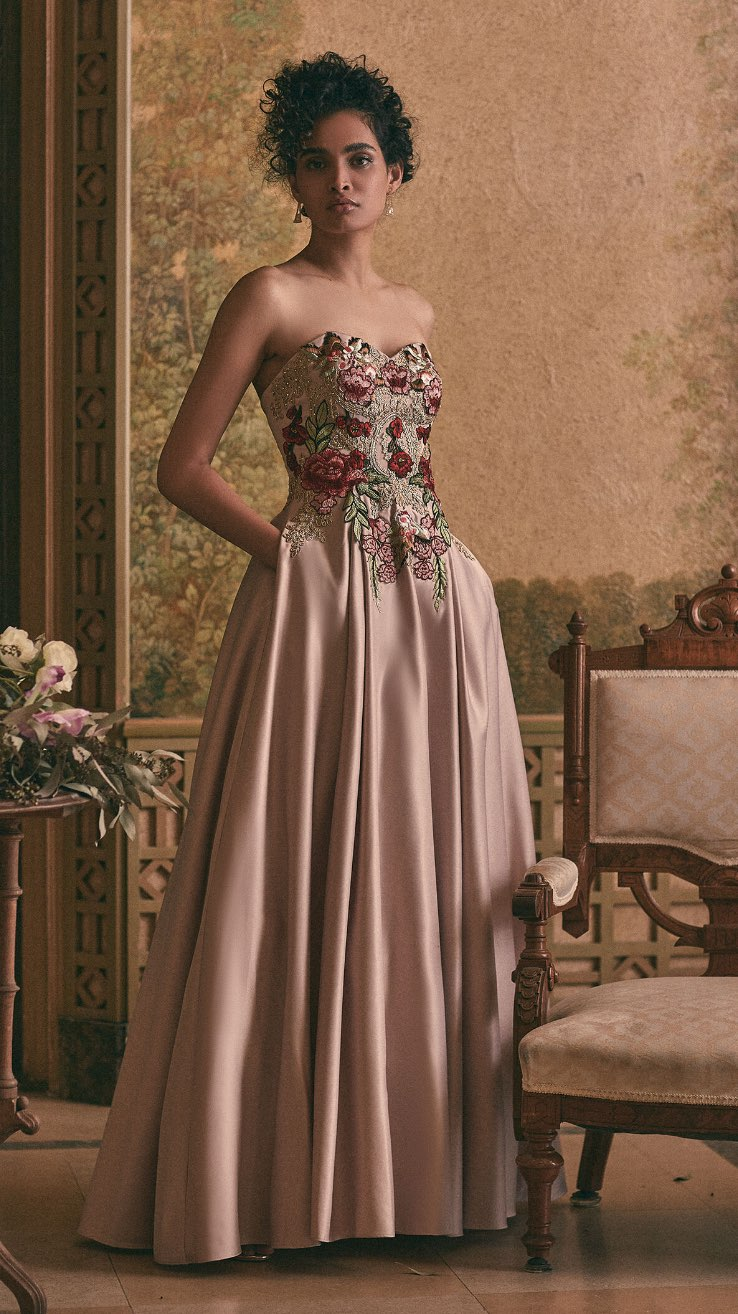 Embroidered Bustier Ball Gown