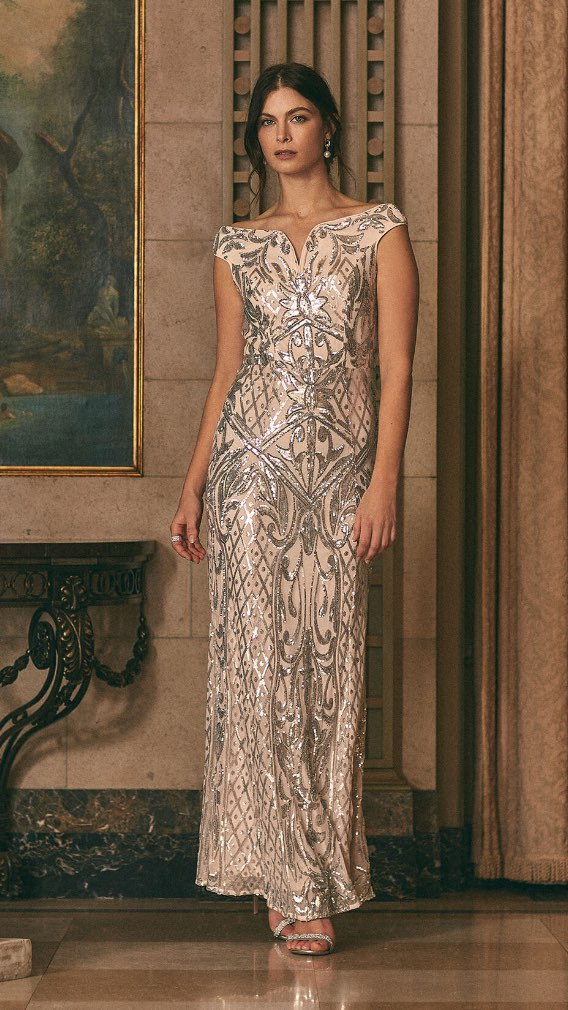 Frank Lyman - Robe en maille filet et sequins