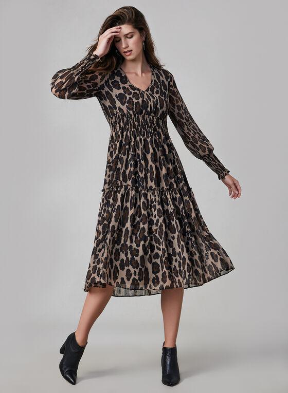 Robe léopard à détails ruchés
